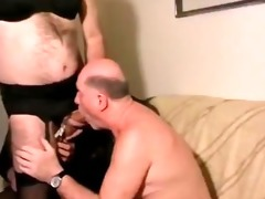 old man with crossdressers. dad drink piss and cum