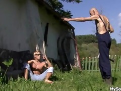 old man pleases his sons cheating gf outdoors