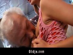 grandpa lucky to fuck a sexy juvenile redhead