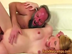 unshaved old dude copulates petite blond ass