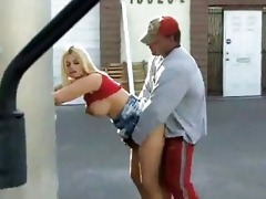 busty honey fucked by slutty daddy in public