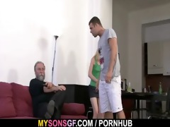 he leaves and she sucks his dad&#039 s cock
