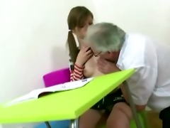 old gray-haired teacher fucks his youthful