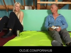 shy oldman tempted and fucked by cocky hussy