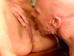 grandpapa and youthful girl pissing and fucking