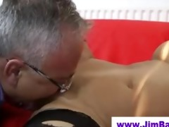 honey in stockings licked by old stud