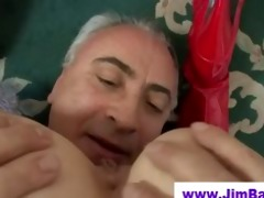 pigtailed slut swallows old mans cum