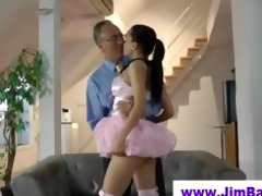 sexy ballerina engulfing off old man