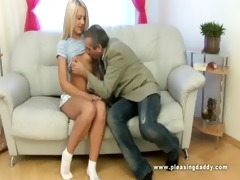 young golden-haired slut fucks her old coach