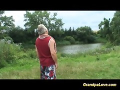 grandpa gets lucky with a blonde hottie in the
