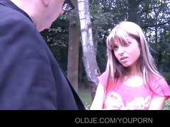 youthful gina pays the old bill collector with