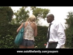recent black stepdad punishes blonde daughter for