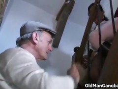 voyeur grandpa joins group sex