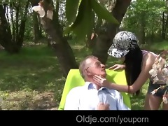 party girl nataly meets an old man in the woods