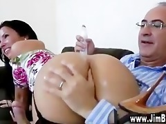 brunette young gal doggy position